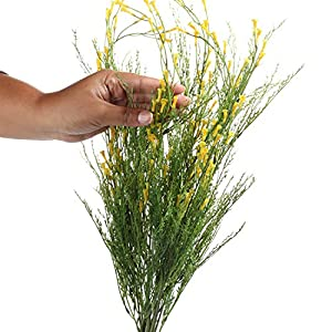 Factory Direct Craft Yellow and Green Artificial Wild Trumpet Flower Bush for Decorating, Crafting and Creating 3