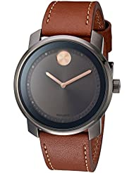 Movado Mens 3600378 Swiss Quartz Stainless Steel and Leather Brown Watch