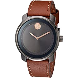 Movado Men's 3600378 Swiss Quartz Stainless Steel and Leather Brown Watch
