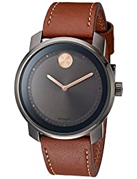 Movado Men's Swiss Quartz Stainless Steel and Leather Automatic Watch, Color:Brown (Model: 3600378)