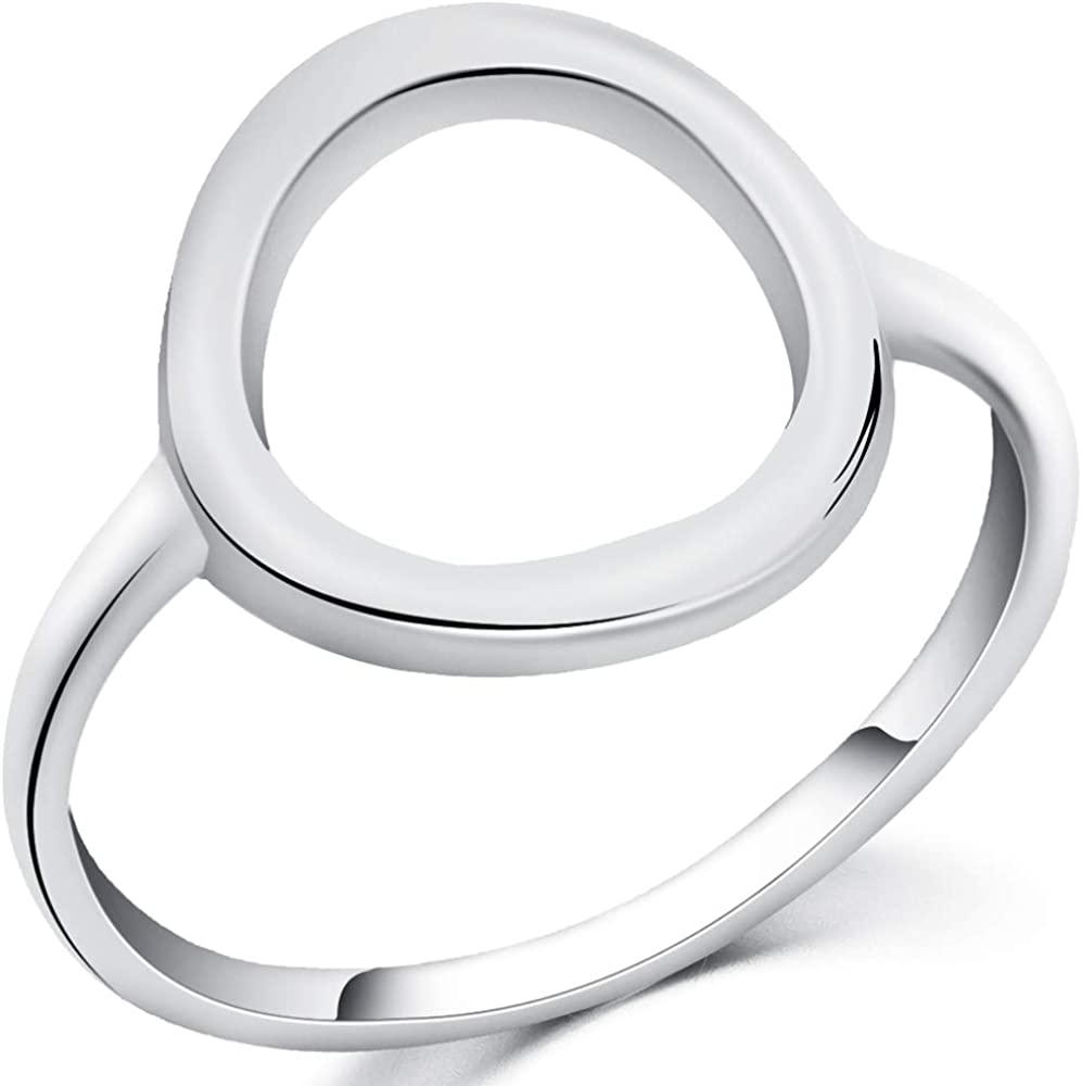 Jude Jewelers Stainless Steel Classical Simple Plain Open Karma Statement Promise Ring