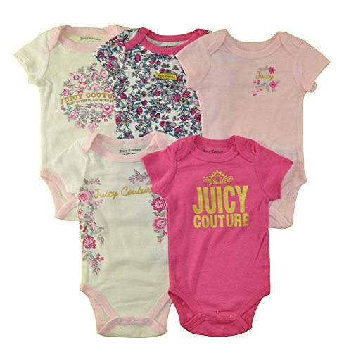 Juicy Couture Baby Girls' 5 Pack Bodysuits, Floral/Light Pink/Dark Pink, 3/6M