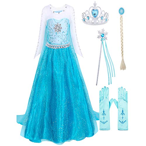 HenzWorld Costumes for Girls Elsa Dresses Birthday Party Cosplay Halloween Outfit Gloves Wand Crown Jewelry Set 8-9 Years]()