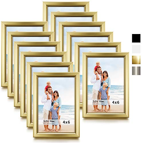 Cheap Gold Frames (LaVie Home 4x6 Picture Frames (12 Pack, Gold) Simple Designed Photo Frame with High Definition Glass for Wall Mount & Table Top Display, Set of 12 Classic)