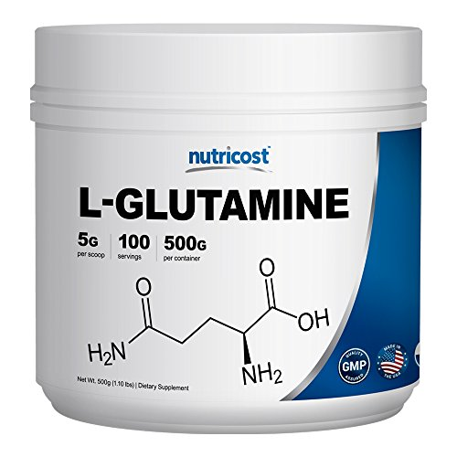 Nutricost L-Glutamine Powder [500 G] - Pure L Glutamine - 5000mg per Serving - 1.1 Pounds - 100 Servings - Highest Purity