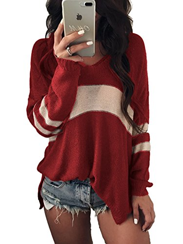 Dokotoo Womens Casual Fashion Cozy Cashmere Ladies Fall Winter Long Sleeve V Neck Loose Striped Color Block Split Knit Sweater Pullover Tops Red Small - Cozy Striped V-neck Sweater