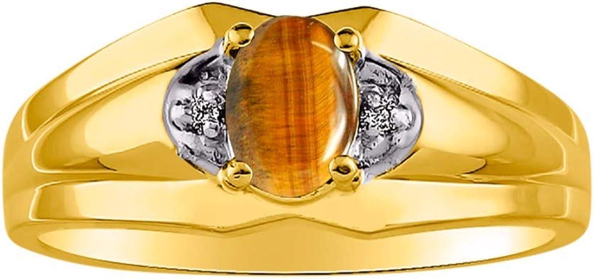 RYLOS Anillo para hombre con piedra preciosa ovalada y diamantes brillantes genuinos en oro amarillo de 14 quilates – Anillo de piedra natal de 7 x 5 mm