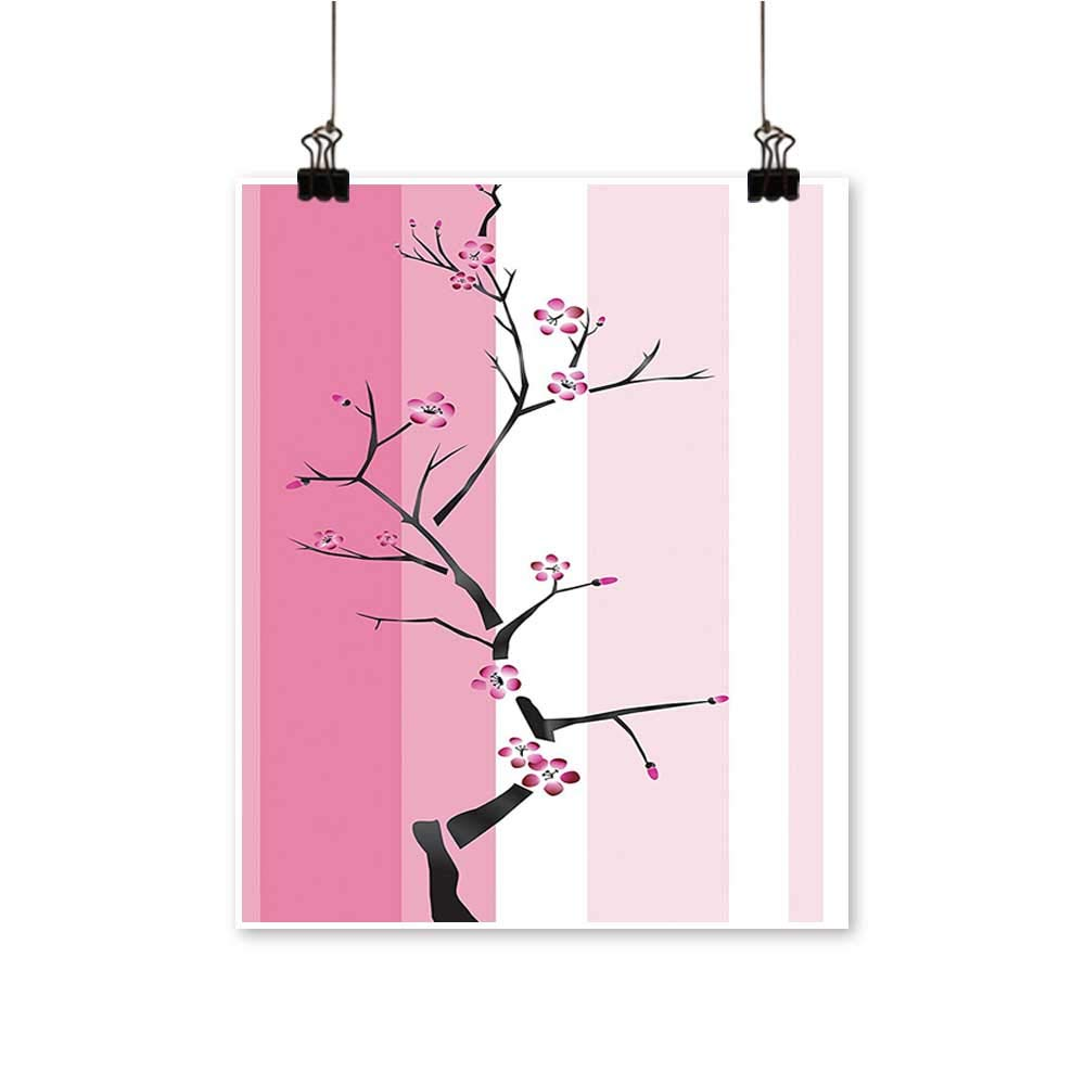 Modern Painting Leafless Thin Tree with A Couple of Reach Peak Blooms Vibrant National Artwork for Home Decorations,28''W x 52''L/1pc(Frameless) by painting-home