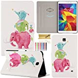 Tab 4 8.0 T330 Case, Dteck(TM) Stylish Portable Design Premium Leather Flip Stand Case [Auto Sleep/Wake Feature] Full Body Protective Cover for Samsung Galaxy Tab 4 8.0 SM-T330 (02 Elephant Family)