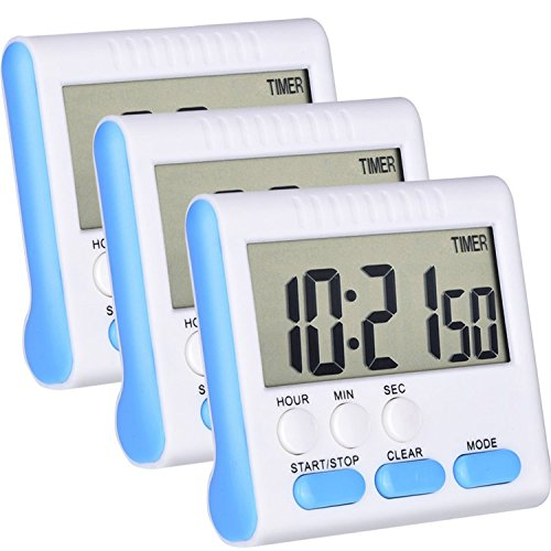 Mudder 3 Pack 24 Hours Magnetic Kitchen Timers with Digital