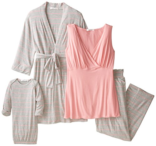 (Everly Grey Women's Roxanne 5 Piece Maternity and Nursing PJ Pant Set with Robe and Matching Baby Gown, Rosebud, Medium )