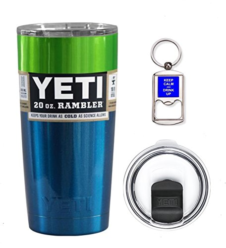 YETI Coolers 20 Ounce (20oz) (20 oz) Custom Rambler Tumbler Cup Mug Bundle with New Magslider Spill Proof Lid (Blue Green Ombre)