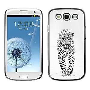 Spots Snow Leopard Invierno Negro Blanco- Metal de aluminio y de plástico duro Caja del teléfono - Negro - Samsung Galaxy S3