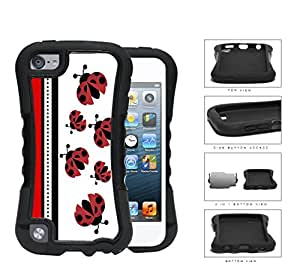 Cute Ladybugs Pattern With Red & Black Stripes [iPod Touch 5] 2-piece Dual Layer High Impact Black Silicone Cover