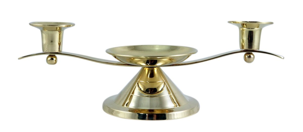 Gold Toned Unity Candle Holder for Wedding Ceremony, 12 Inch