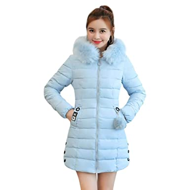 f3705ad6163ff1 Slolvedi Women Coats Jackets for Winter Hooded Fashion Solid Color Thicken  Long Parkas (Blue L