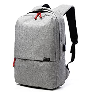Hmulan High Capacity Laptop Backpack with USB Charging Port Travel Casual Notebook School Bag (Gray)