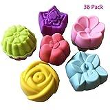 water bath baking pan - Magik 36 PCS Reusable Non-stick Silicone Mini Baking Muffin Cupcake Chocolate Cups (Assorted Flowers)