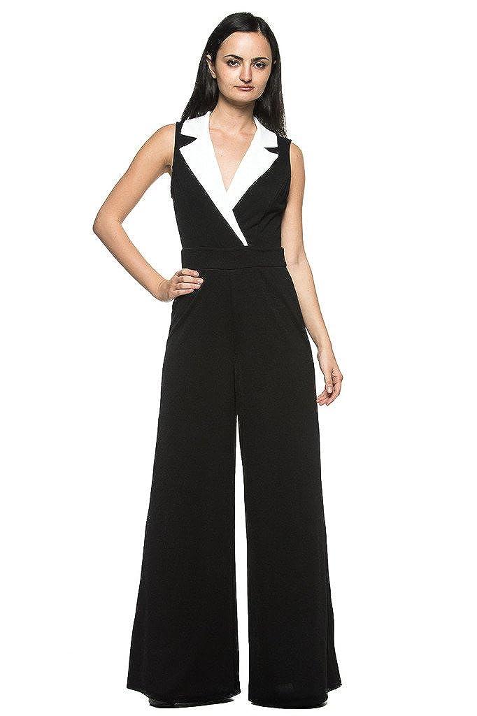 Women's Plus Black White Tuxedo Collar Lapel V Neck Wide Leg Pant Suit Jumpsuit