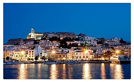 España Costa casas ciudades noche Ibiza Islas Baleares Tourist ...