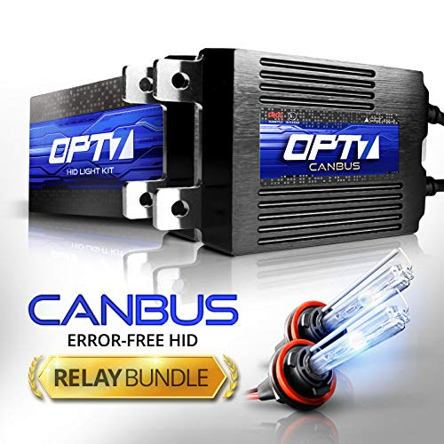 OPT7 Boltzen AC 35w CanBUS H11 (H8, H9) HID Kit - Relay Bundle - All Bulb Sizes and Colors - 2 Yr Warranty [6000K Lightning Blue Xenon Light]