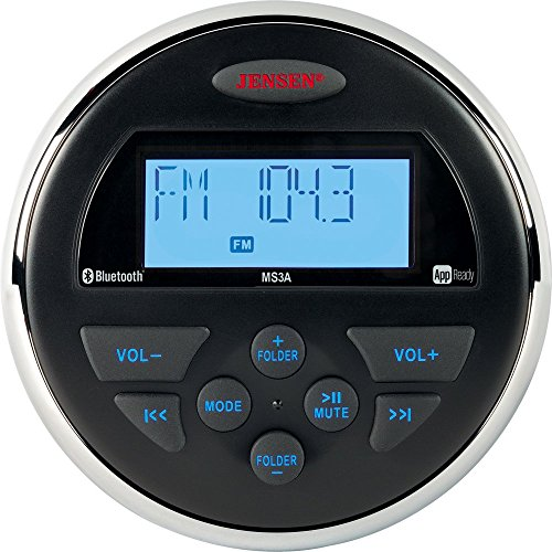 Jensen MS3ARTL AM/FM/USB/Bluetooth Compact 3.5'' Round Waterproof Stereo with App Control, 160 watts, 12V DC power system (2-wire), App ready (jControl), IPX6 waterproof design by Electronics World
