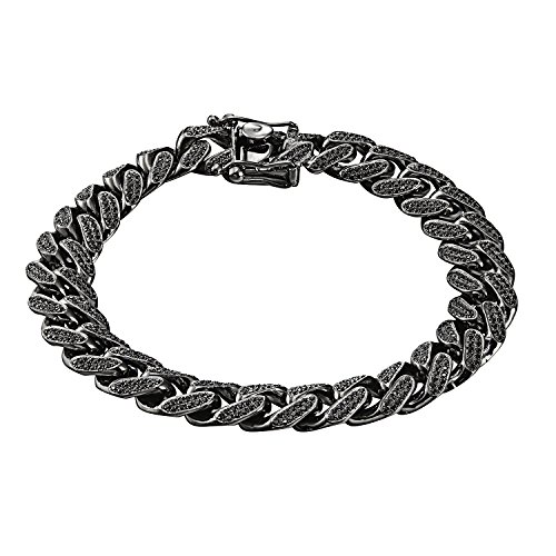 Black Miami Cuban Bracelet Iced Out Black Lab Diamonds 12mm Sterling Silver Mens by Master Of Bling