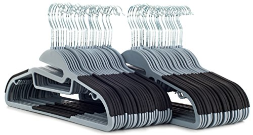 50 pc Premium Quality Easy-On Clothes Hangers - Grey with Black Non-Slip Pads - Space Saving Thin Profile - For Shirts, Pants, Blouses, Scarves – Strong Enough for Coats