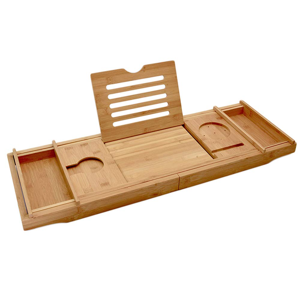 FA-Bath Multifunction Bamboo Bathtub Caddy Tray with Extending Both Sides Adjustable Non-Slip Bamboo Bathtub Frame Notebook Table Wood Bathtub Tray Shelf Bookend 29.13′′11.42′′