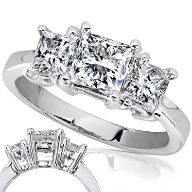 Amazon 2 Carat TW Certified Three Stone Princess Cut Diamond