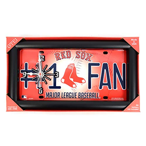 BG MLB Baseball Major League Teams Framed License Plate Hanging Analog Wall Clock Battery Operated Fan Collectibles Yankees Red Sox & More