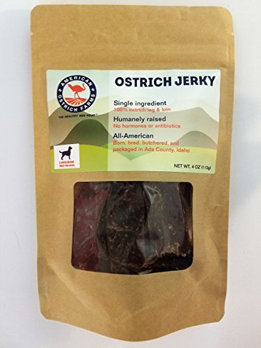 Ostrich Jerky for Pets: Single Ingredient, 100% Natural, All-American, tastes just like beef, but far healthier! - Like Ostriches