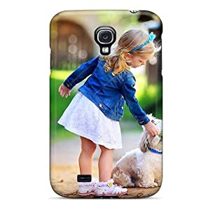 Tpu Case Cover Compatible For Galaxy S4/ Hot Case/ Girl And Dog