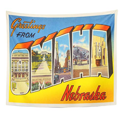 Semtomn Tapestry Artwork Wall Hanging City Omaha Nebraska Ne Old Vintage Travel Greetings 60x80 Inches Home Decor Tapestries Mattress Tablecloth Curtain Print]()