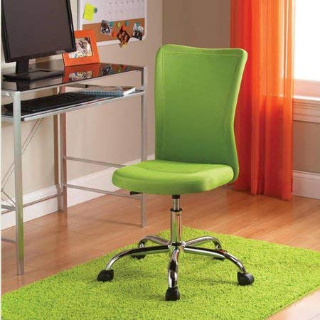 (Adjustable Seat Height Home Office Quality Desk Chair, Sturdy and Durable Chrome Construction, Breathable Supportive Padded Mesh Upholstery, 360-Degree Swivel Base and 5 Rolling Casters, Green)