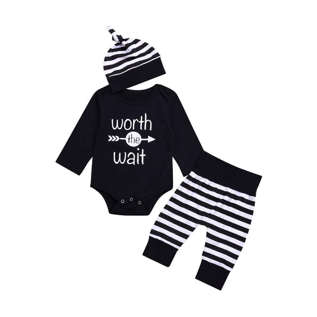 Hot Sale!! Baby 3pcs Clothes Set, Newborn Infant Boys Girls Letter Long Sleeve Romper + Stripe Pants Hat (Black, 3-6 Months)