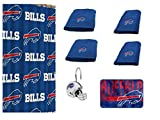 NFL NFL Buffalo Bills 18 Piece Bath Ensemble: Set Includes 1 Shower Curtain, 12 Shower Hooks, 2 Bath Towels, 2 Hand Towels 1 Bath mat