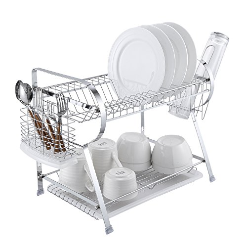 (2 Tier Dish Drying Rack Kitchen Organizer with Drain Board, Chrome Finished Steel, Naturous)
