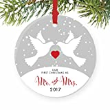 "Love Birds Mr & Mrs Ornament 2017, 1st Married Christmas Porcelain Ornament, Doves First Married Christmas, 3"" Flat Circle Christmas Ornament w Glossy Glaze, Red Ribbon & Free Gift Box | Hawthorne"