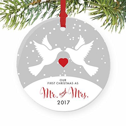Love Birds Mr & Mrs Ornament 2017, 1st Married Christmas (Dove Christmas Tree)