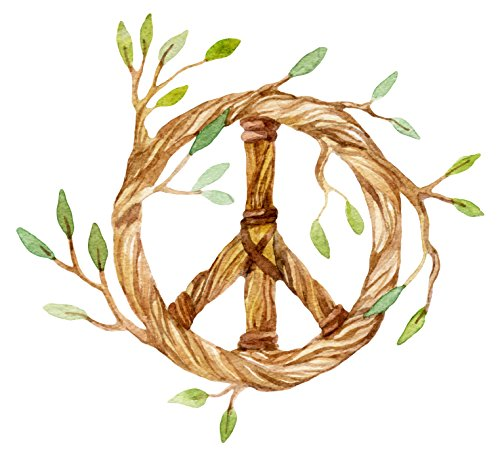 Delicate Watercolor Twisted Olive Branch Peace Sign Symbol Vinyl Decal Sticker (4