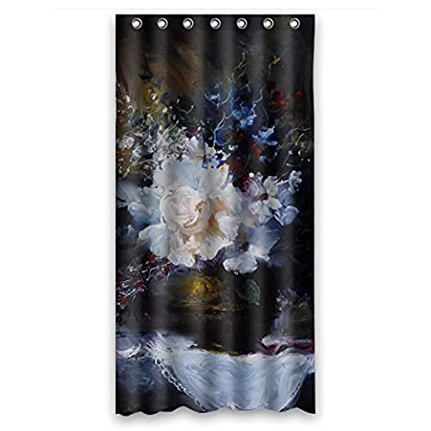 MaSoyy Width X Height / 36 X 72 Inches / W H 90 By 180 Cm Polyester Art Painting Flowers Bath Curtains Fabric Is Fit For Bf Family Artwork Kids Girl Father. Dries (The Nanny With The Skull)