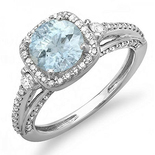 14K Round 7.5 MM Aquamarine & White Diamond Ladies Halo Engagement Ring, White Gold, Size 6.5