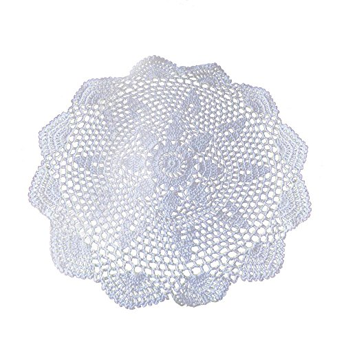Laivigo New Handmade Crochet Lace Round Placemat Doilies Doily,24 Inch,White