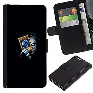 LECELL--Cuero de la tarjeta la carpeta del tirón Smartphone Slots Protección Holder For Apple Iphone 6 PLUS 5.5 -- Divertido Joker Playing empuje Tarjetas --