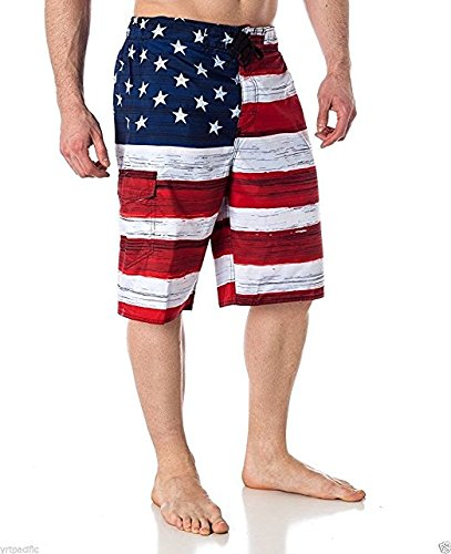 US Apparel Men's American Flag Inspired Board Shorts Denim (XX-Large, Red)