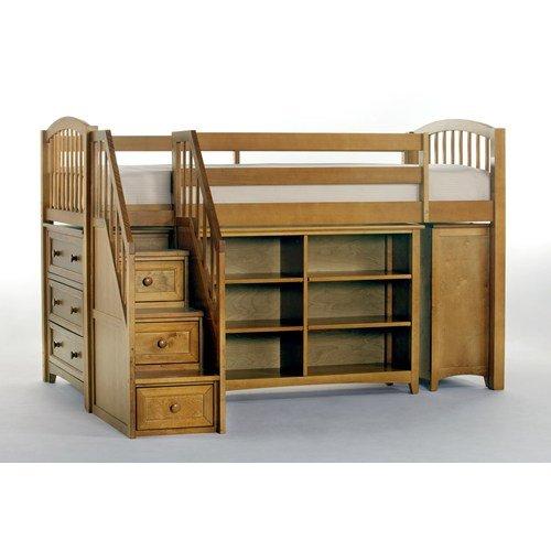 NE Kids School House Storage Junior Loft Bed with Stairs in Pecan