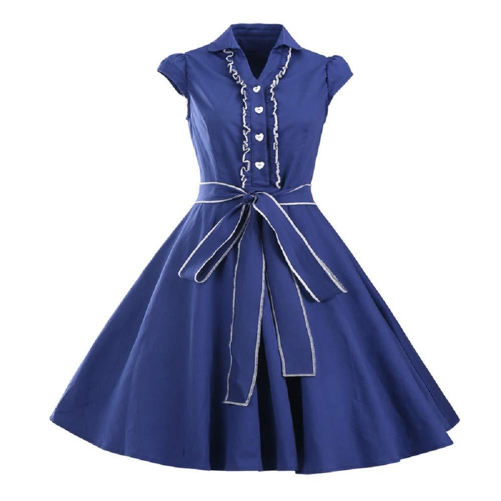 YCQUE Frauen Frühling Sommer Kurzarm O Neck Abend Party Prom Schaukel Hepburn A-Line Kleid
