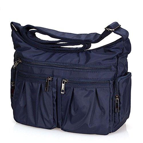 Volcanic Rock Shoulder Bag Corss-body Purse Waterproof Nylon Handbags with Zipper for Women(8981_Dark blue)