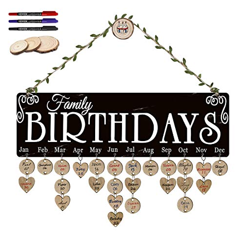 ElekFX Family Birthday Board Reminder Wall Plaque Wood Birthday Calendar Wall Hanging Board Handmade Crafts Discs for Home Decorative [with 100 Pack Discs]